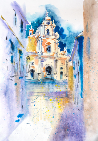 View of old european cityscape Watercolor illustration. Stock Photo