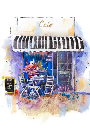 Urban scenic landscape street cafe Watercolor illustration Фото со стока