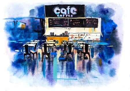 Urban scenic landscape street cafe Watercolor illustration Reklamní fotografie