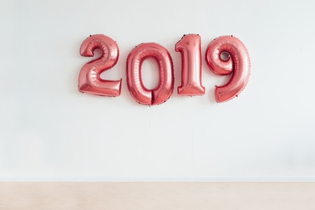 Christmas New Year 2019 numbers balloons. Celebration, holiday. Stok Fotoğraf