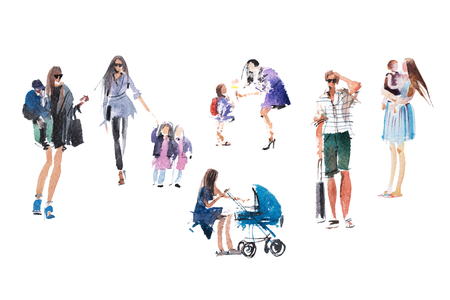 Mothers, children walking People summer outdoor activity vacation, holiday Watercolor illustration.
