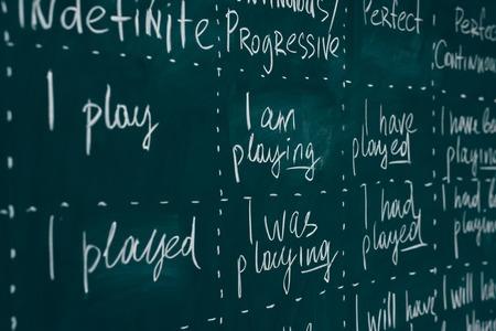 Pizarra en una clase de inglés. Lección, conferencia, estudio de aprendizaje de idiomas extranjeros. Foto de archivo