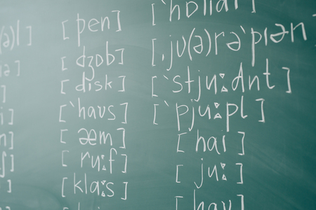 Study english School lesson class blackboard International phonetic alphabet.