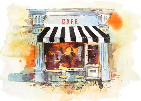 European retro restaurant or cafe Watercolor illustration