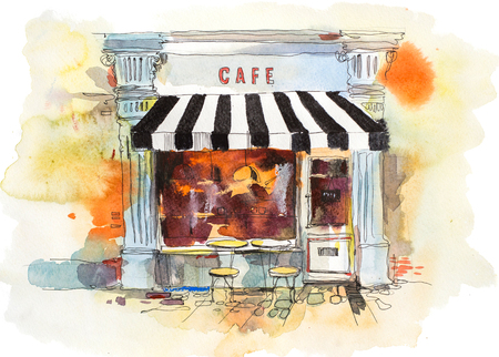 European retro restaurant or cafe Watercolor illustration
