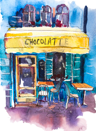 Exterior of vintage charming cafe terrace Watercolor illustration.