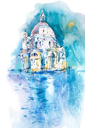 Watercolor illustration of city town cityscape architecture.