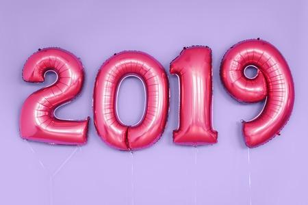 Christmas New Year 2019 numbers balloons. Celebration, holiday. Фото со стока