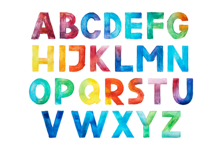 Colorful watercolor aquarelle font type handwritten hand draw abc alphabet letters. Stock Photo