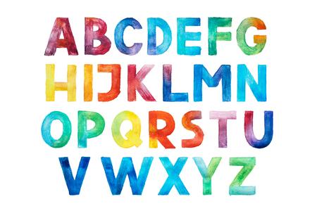 Kleurrijke aquarel aquarelle lettertype type met de hand geschreven hand tekenen abc Alfabetletters. Stockfoto
