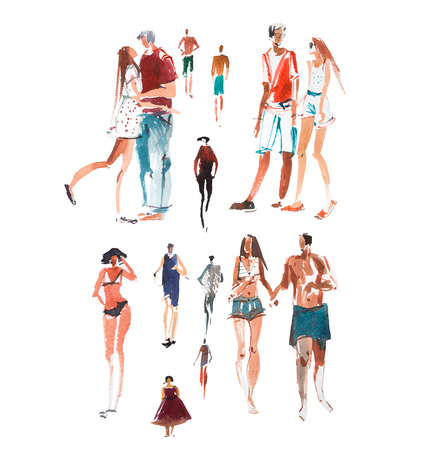 Walking people Watercolor illustration Quick sketch drawing, speed paint.