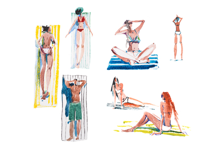 People on the beach Summer holiday. Watercolor illustration.