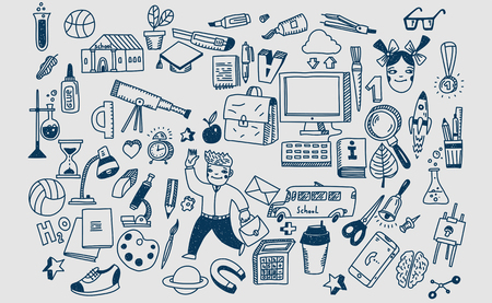 Hand drawn vector doodle school icons and symbols. Ilustração