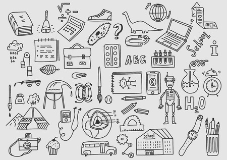 Hand drawn vector doodle school icons and symbols Foto de archivo - 109675355