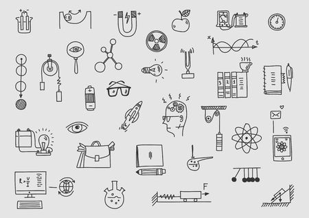 Physik. Sclool Bildung und Wissenschaft. Handgezeichnetes Gesetz der wissenschaftlichen Formeltheorie. Vektorgrafik