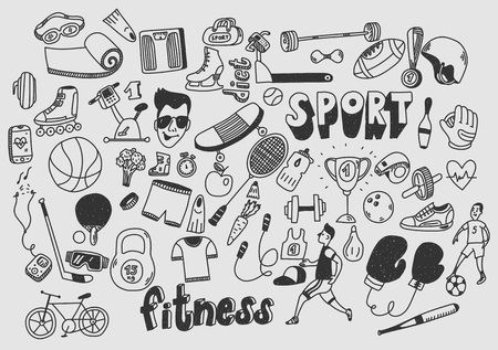 Sport fitness healthy lifestyle doodle hand drawn