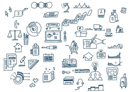 Hand draw doodle elements. Business finance analytics earnings Ilustração