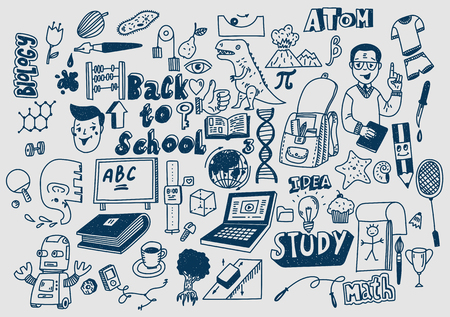 Hand drawn scketchy school supplies doodles Learning and education.