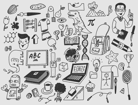 Learning and education Hand drawn doodle school items Illustration