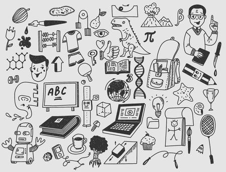 Apprentissage et éducation Articles scolaires doodle dessinés à la main