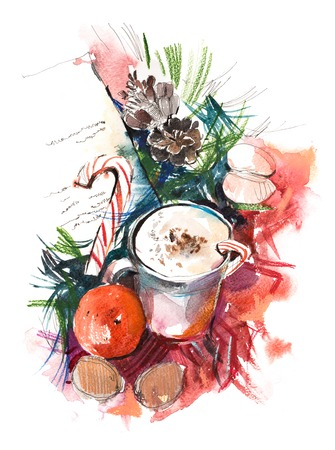 Christmas still life Watercolor. Winter, New year.