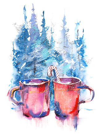 Winter still life cups of hot coffee on windowsill against snow landscape. 写真素材