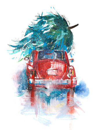 Christmas tree on red car. Christmas holiday celebration and new year. Winter Landscape snowy road in forest