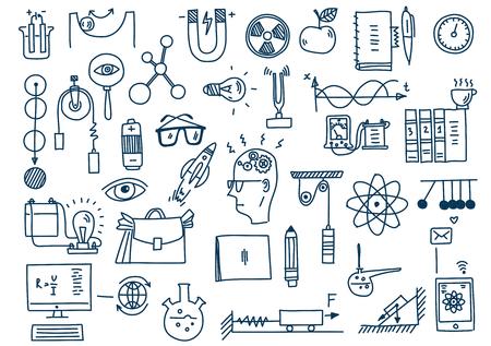 La physique. Éducation et science Sclool. Loi de la théorie de la formule scientifique dessinée à la main.