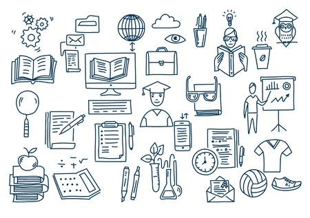 Hand drawn vector doodle school icons and symbols Foto de archivo - 130836619