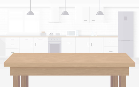 Modern new light interior of kitchen with white furniture. Stock Illustratie