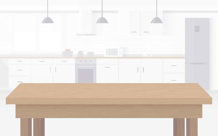 Modern new light interior of kitchen with white furniture. Illustration