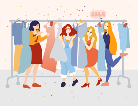 Happy female customers choosing dresses in the clothing store Illusztráció