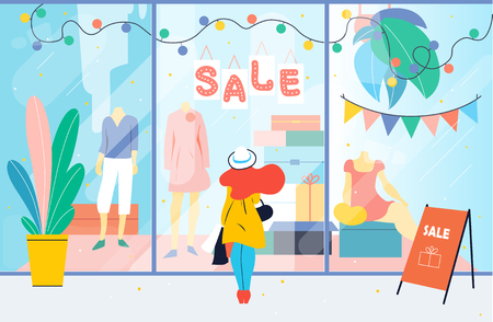 Sale. Girl looks at the clothes shop window. Woman standing near showcase in the mall. Discount Stock Illustratie