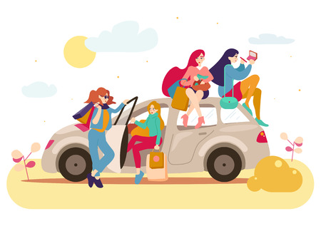 Group of girls with bags after shopping in a car.
