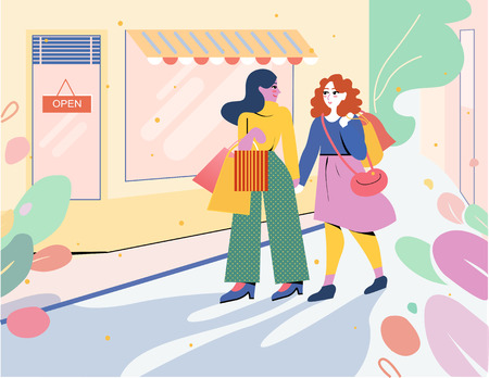 Two girls go from the store with shopping bags