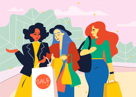 Female friends go from the store with shopping bags.