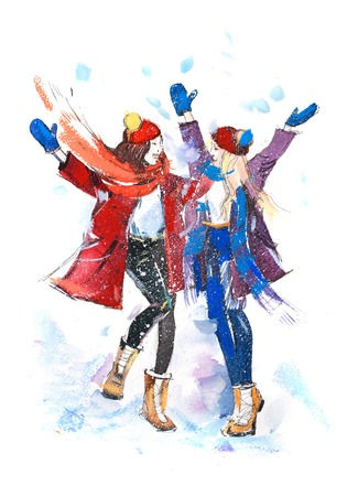 Girls playing with snow. Christmas celebration friendship winter Watercolor.