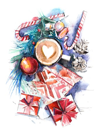 Winter, New Year, Christmas still life Watercolor.