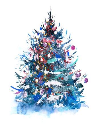 Decorated christmas tree New year Watercolor illustration Imagens