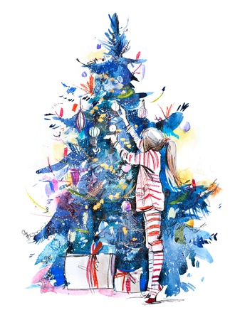 Little girl decorating christmas tree with toys and baubles. New year. Kid preparing home for xmas celebration. Watercolor Imagens