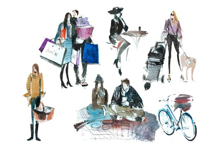 Watercolor people with shopping bags. Fashion, sale, autumn