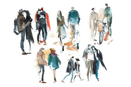 Walking people Outerwear Autumn Watercolor illustration Sketch drawing