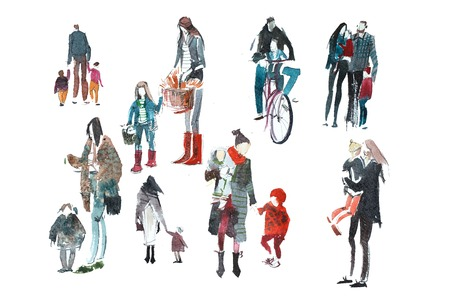 Hand drawn watercolor people with shopping bags. Fashion, sale.