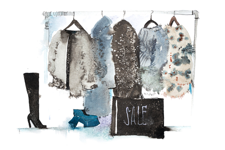 Clothes store. Shop with new collection Womens clothing on hanger.