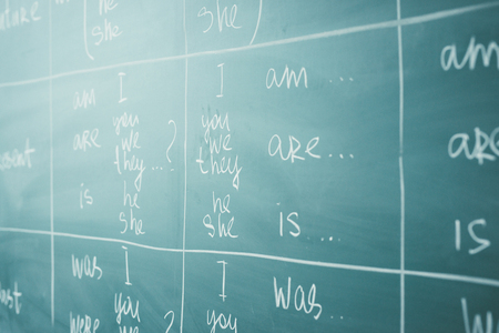 English lesson, school, learn foreign language. Chalkboard. Verb tenses Grammar. Stock Photo