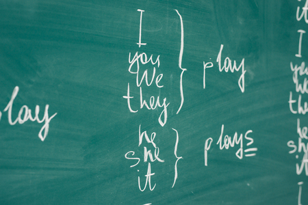 English lesson, school, learn foreign language. Chalkboard. Verb tenses Grammar. Stock fotó