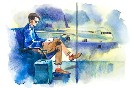 Man waiting boarding on aircraft sitting in airport lounge Imagens