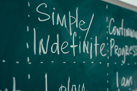 Studying foreign language. Rules of the English Language written on the blackboard. Banco de Imagens - 109824714