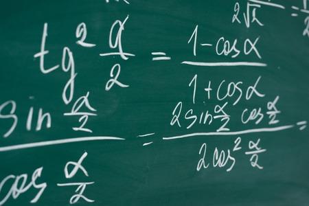 School, education, lesson. Mathematics formulas written on the chalboard.