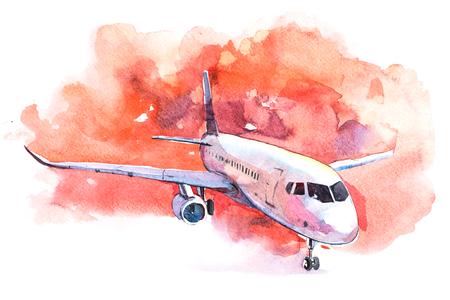 Vliegtuig staat op het vliegveld op het startveld aquarel. Stockfoto